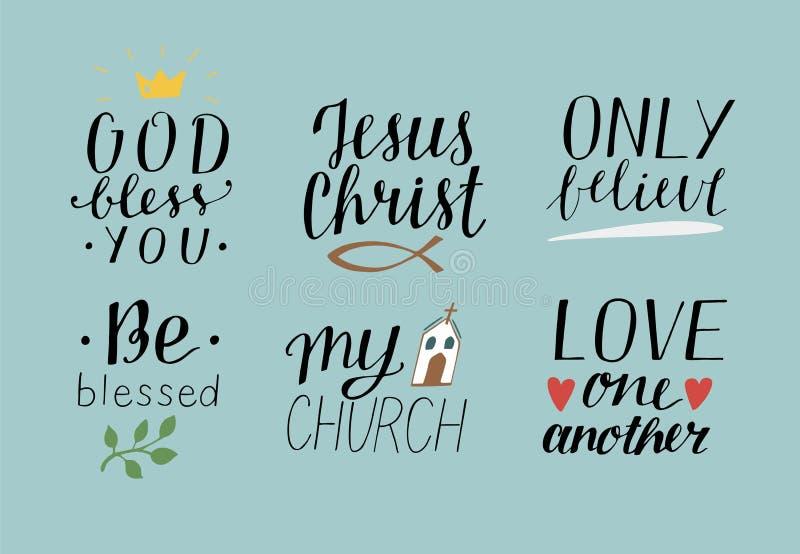 Uppsättningen av 6 kristna citationstecken för handbokstäver med symbolguden välsignar dig Jesus Christ Only tror Välsignas Min k royaltyfri illustrationer