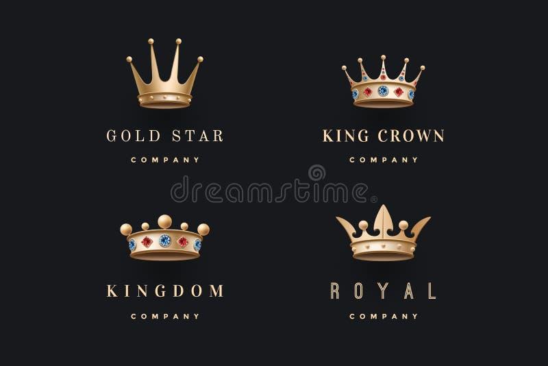 Uppsättningen av kunglig guld krönar symboler och logoer vektor illustrationer
