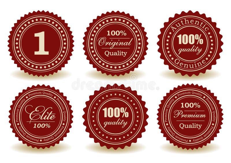 Uppsättningen av kvalitets- förseglar stock illustrationer