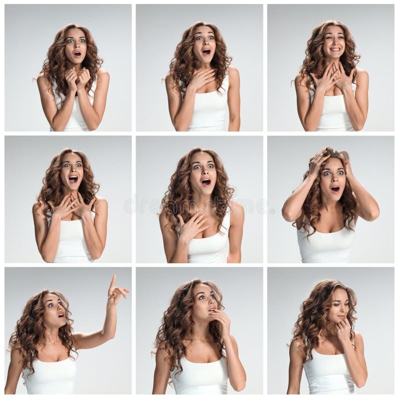Uppsättningen av kvinnliga portraites med chockat ansiktsuttryck fotografering för bildbyråer