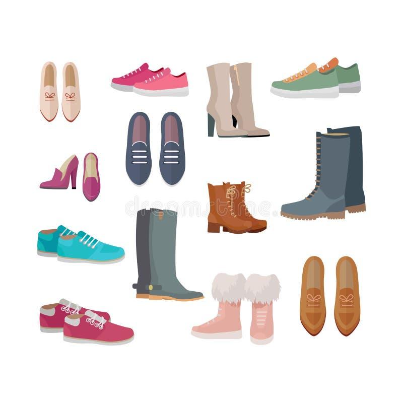 Uppsättningen av kvinnor s skor vektorer i plan design vektor illustrationer