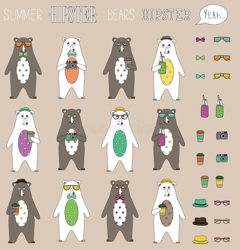 Uppsättningen av lägenheten för hipstersommarbjörnen med tillbehör kan byta Tappning utformade tecken för designhipstersymboler o vektor illustrationer