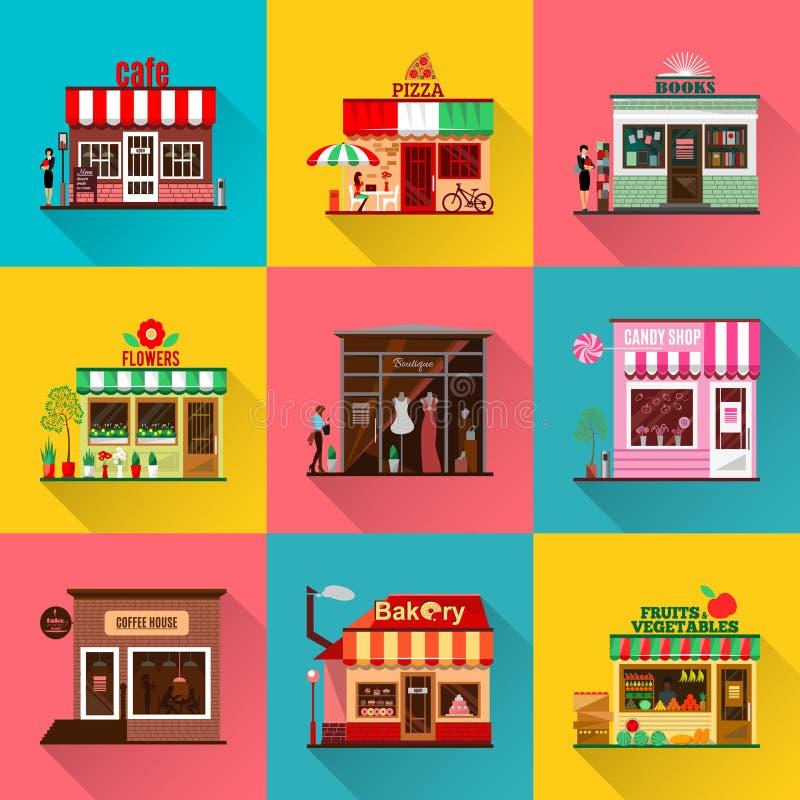 Uppsättningen av lägenheten shoppar byggnadsfasadsymboler med skugga stock illustrationer