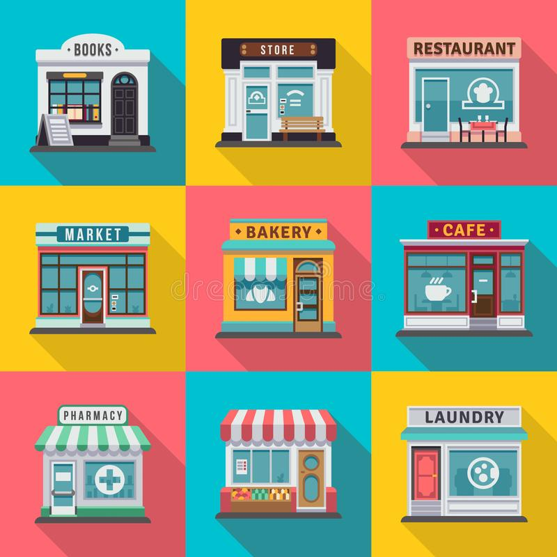 Uppsättningen av lägenheten shoppar byggnadsfasadsymboler Vektorillustration för lokal design för marknadslagerhus vektor illustrationer