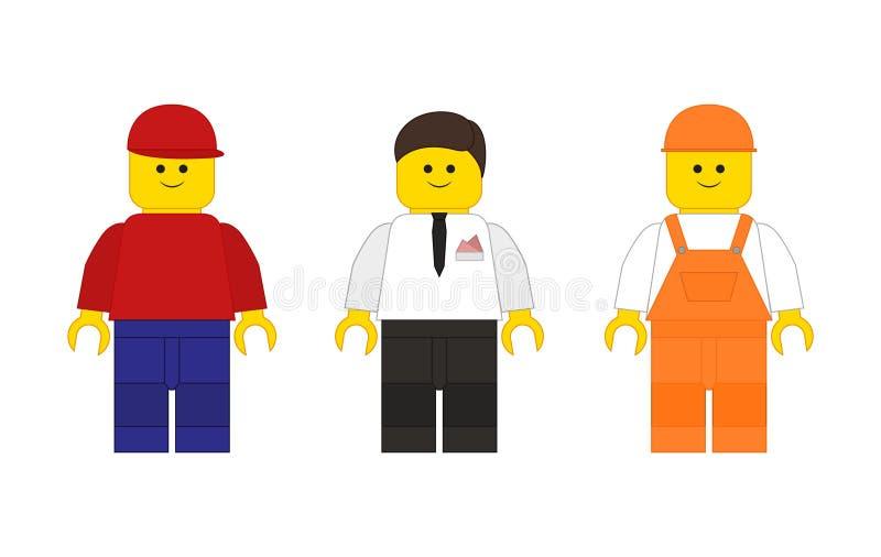 Uppsättningen av Lego mans i den plana stilen vektor illustrationer