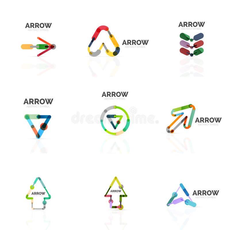 Uppsättningen av linjära pilabstrakt begrepplogoer, förbindelsemångfärgade segment fodrar i riktningspekarediagram stock illustrationer