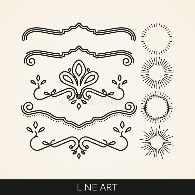 Uppsättningen av linjen konstbeståndsdelar för design-, sunburst- och strålljus formar stock illustrationer
