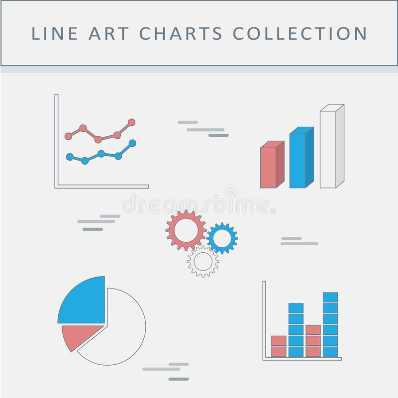 Uppsättningen av linjen symboler graphs och kartlägger grafer för affärsdiagram isolerade piewhite stock illustrationer