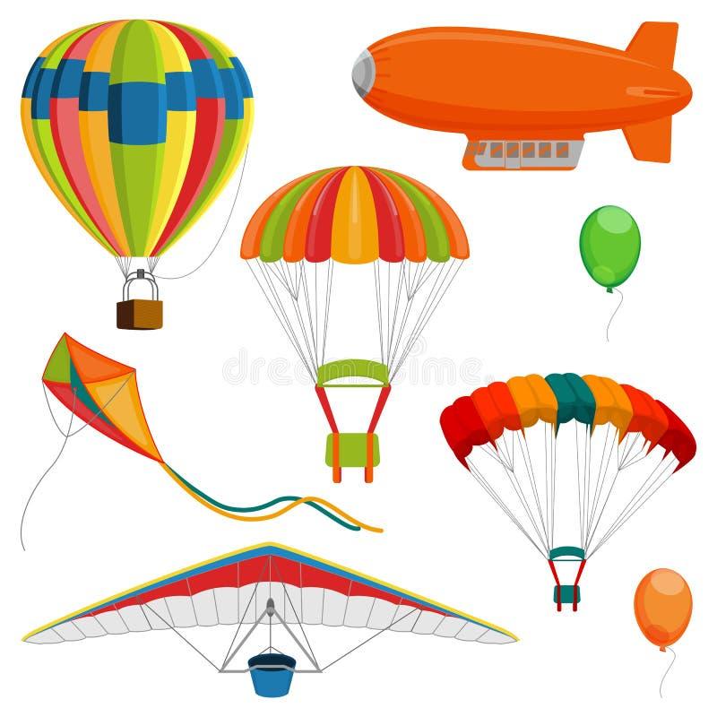 Uppsättningen av litet luftskepp, paraglideren och draken, luftballong och hoppa fallskärm den realistiska vektorn stock illustrationer