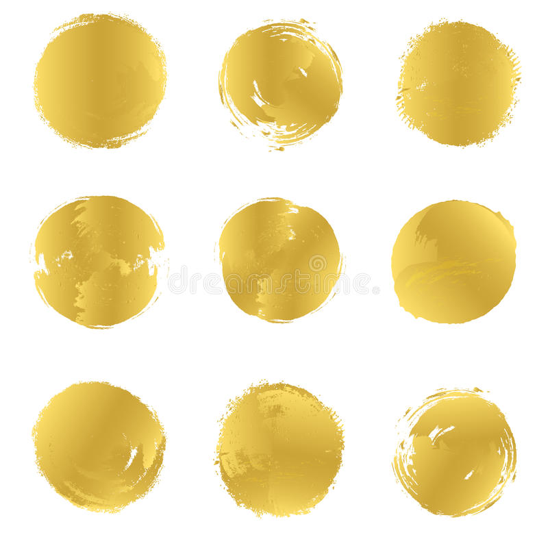Uppsättningen av ljusa guld- fläckar för vektor planlägger renodlat Tryck eller smattrande royaltyfri illustrationer
