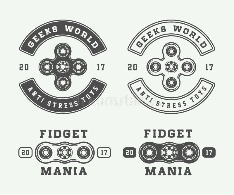 Uppsättningen av logoer för tappningrastlös människaspinnare, emblem, förser med märke vektor illustrationer