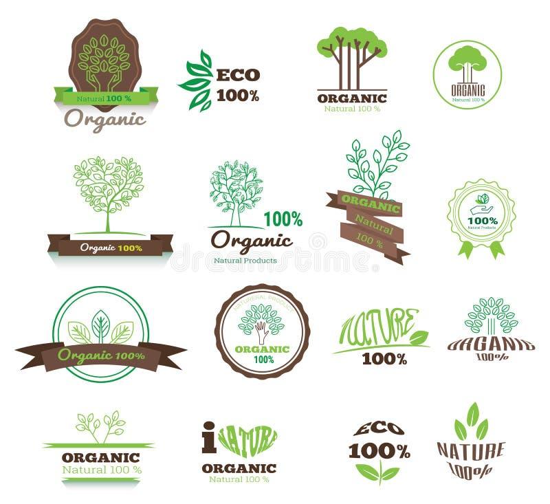 Uppsättningen av logoer, stämplar, förser med märke, etiketter för naturprodukter, lantgårdar royaltyfri illustrationer