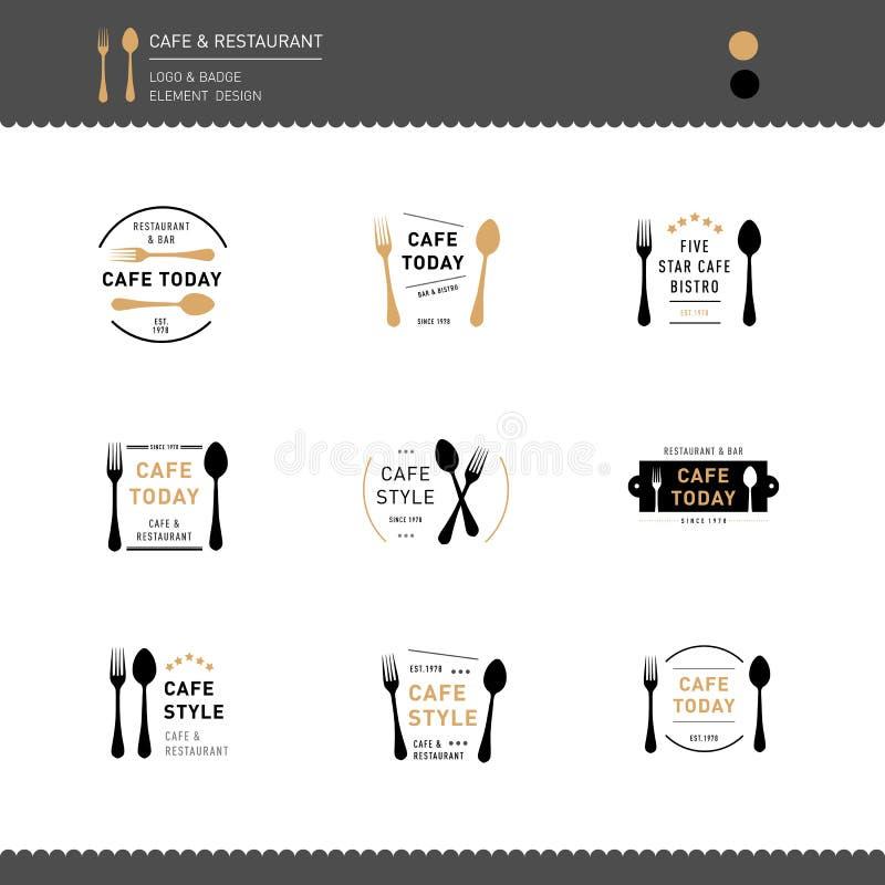 Uppsättningen av logosymbolsdesignen för restaurang- och kafémeny undertecknar royaltyfri illustrationer