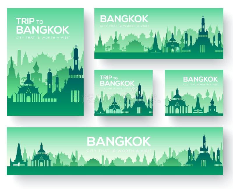 Uppsättningen av loppet för prydnaden för det Bangkok landskaplandet turnerar begrepp Odla traditionellt, tidskriften, boken, aff stock illustrationer