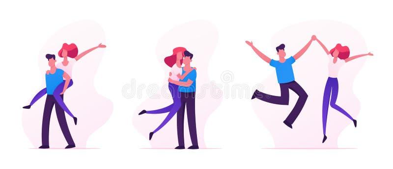 Uppsättningen av lycklig älska parSparetime, gladlynta man- och kvinnatecken spenderar Tid tillsammans och att krama, jublar och  stock illustrationer