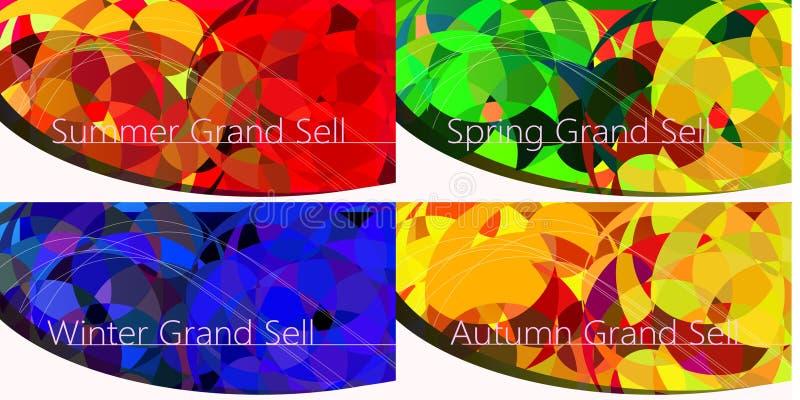 Uppsättningen av lyx fyra kryddar baner, företags banertemplat för försäljning vektor illustrationer