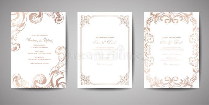 Uppsättningen av lyxig tappningbröllopräddning datumet, inbjudan Cards samlingen med ramen och kransen för guld- folie Moderiktig royaltyfri illustrationer