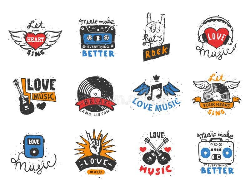 Uppsättningen av mallar för etiketter för tappning den musikaliska drog handen älskar musikaliska beståndsdelar för designvektori vektor illustrationer