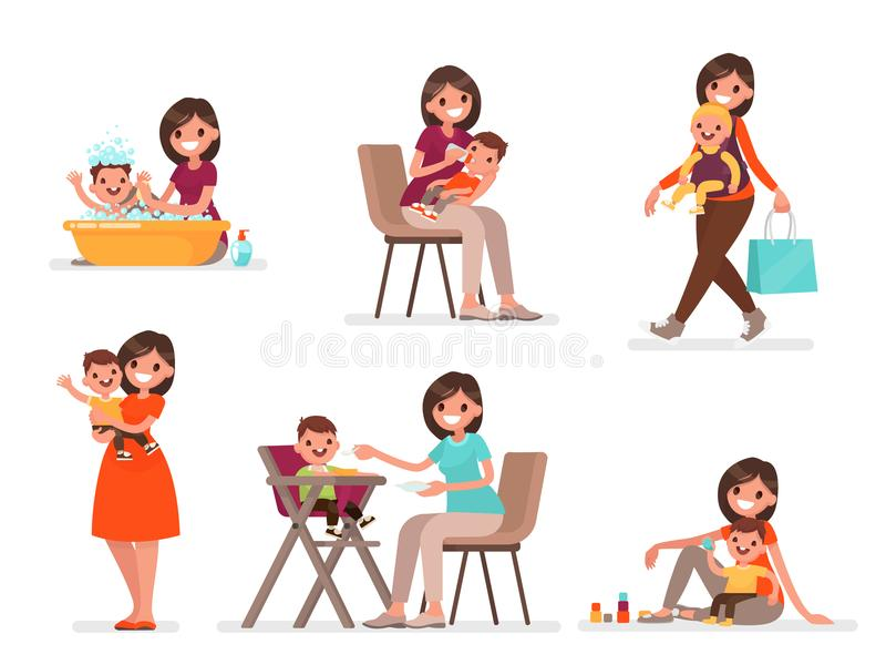 Uppsättningen av mamman och behandla som ett barn Modern matar, badar och spelar med barnet också vektor för coreldrawillustratio vektor illustrationer
