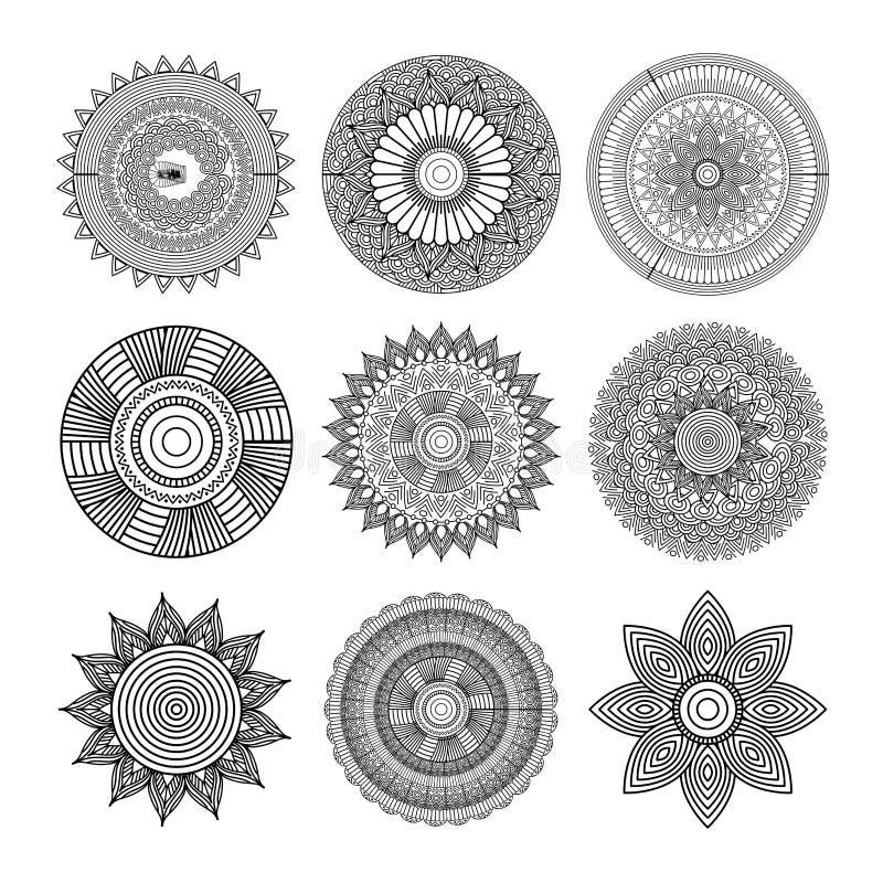 Uppsättningen av mandalas rundar för mottifsgarnering för blom- prydnad vuxen färgläggning vektor illustrationer