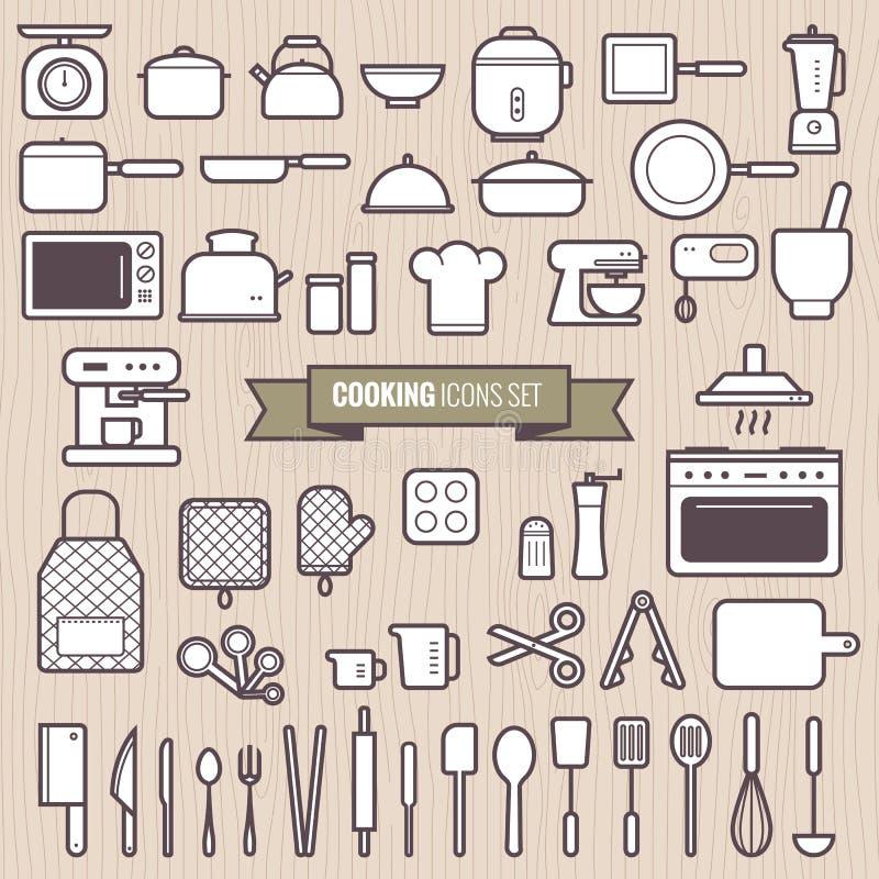 Uppsättningen av matlagninghjälpmedel och den enkla linjen lägenhetdesignsymboler för kök ställde in vektorn stock illustrationer