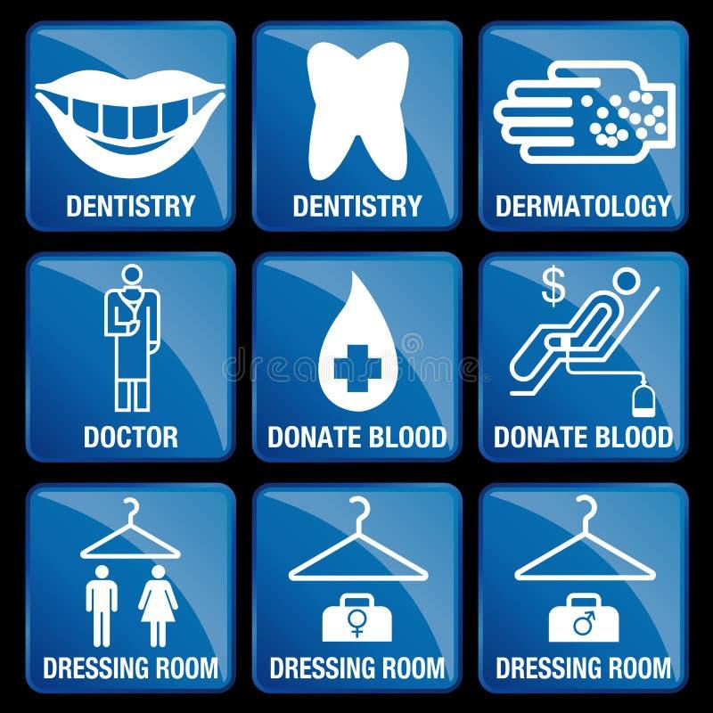 Uppsättningen av medicinska symboler i blått kvadrerar bakgrund stock illustrationer