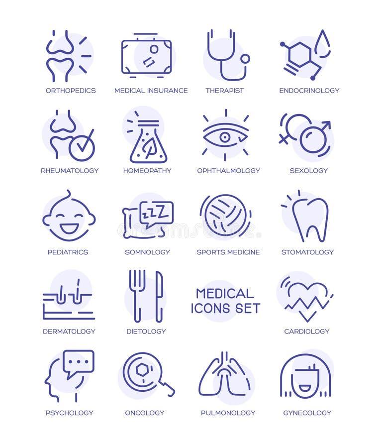Uppsättningen av medicinska symboler, vektorlinje undertecknar vektor illustrationer