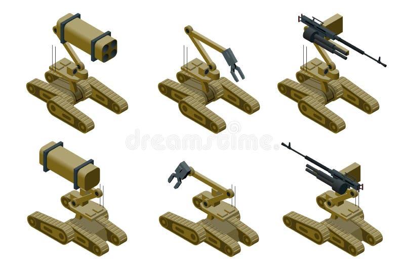 Uppsättningen av militära robotar av kakier färgar på vit bakgrund Isolerad isometrisk vektorillustration royaltyfri illustrationer
