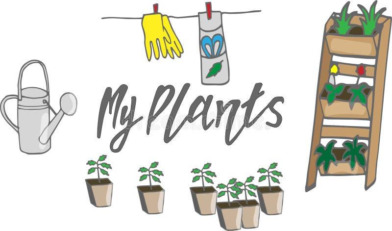 Uppsättningen av mina växter med den inlagda växten och att bevattna kan och annan trädgårdtillbehör royaltyfri illustrationer