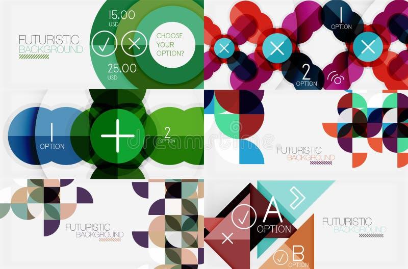 Uppsättningen av minimalistic geometriska baner med trianglar och cirklar och annan formar Rengöringsdukdesign eller affärsslogan royaltyfri illustrationer