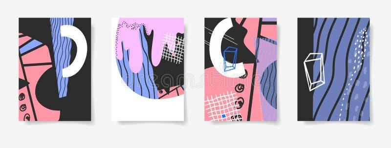 Uppsättningen av moderiktig abstrakt bakgrund fyra, minsta räkningar planlägger royaltyfri illustrationer