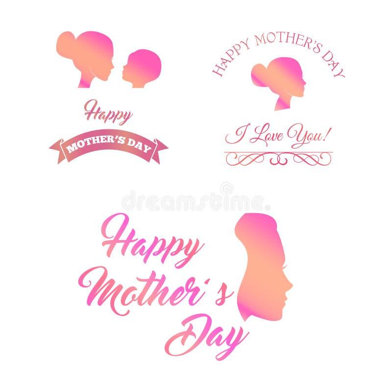 Uppsättningen av modern och behandla som ett barn kontursymboler Lyckliga dagsymboler för moder s vektor vektor illustrationer