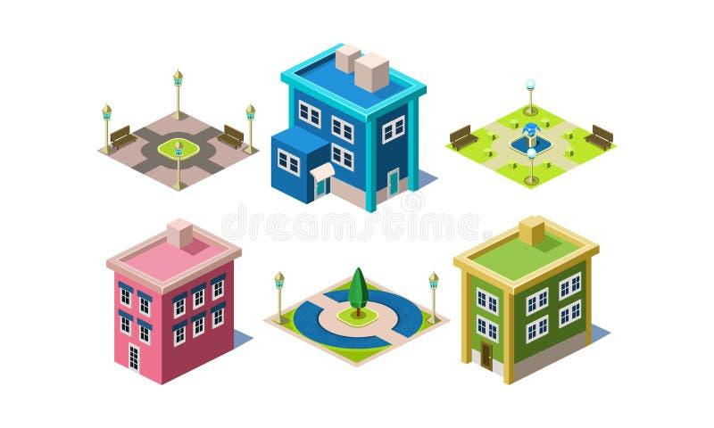 Uppsättningen av moderna byggnader och stads- parkerar med växter, bänkar och lyktor Stadskonstruktörbeståndsdelar Isometrisk vek stock illustrationer