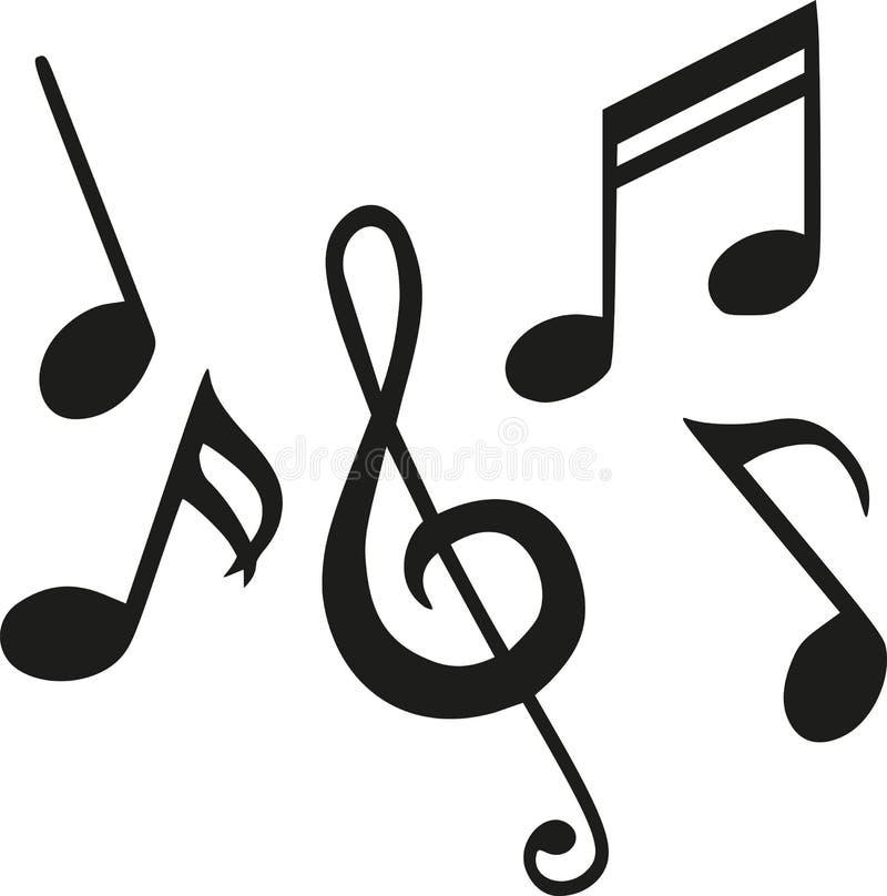 Uppsättningen av musik noterar vektor illustrationer