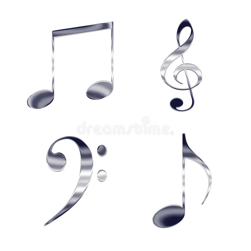 Uppsättningen av musik noterar stock illustrationer