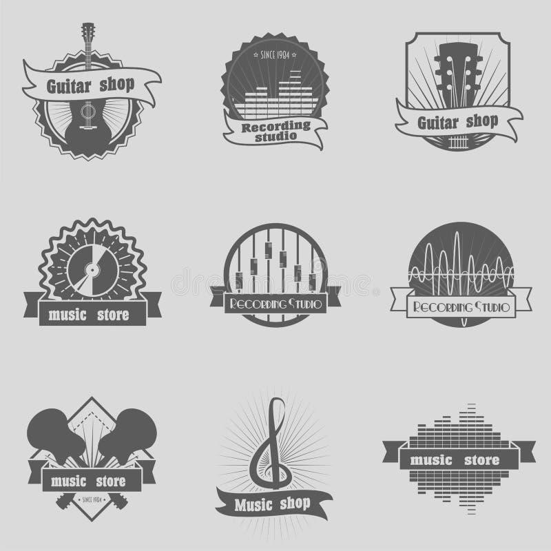 Uppsättningen av musik shoppar, inspelningstudion, karaokeklubban som monokrom märker, emblem, emblem och logoer, att brännmärka  royaltyfri illustrationer