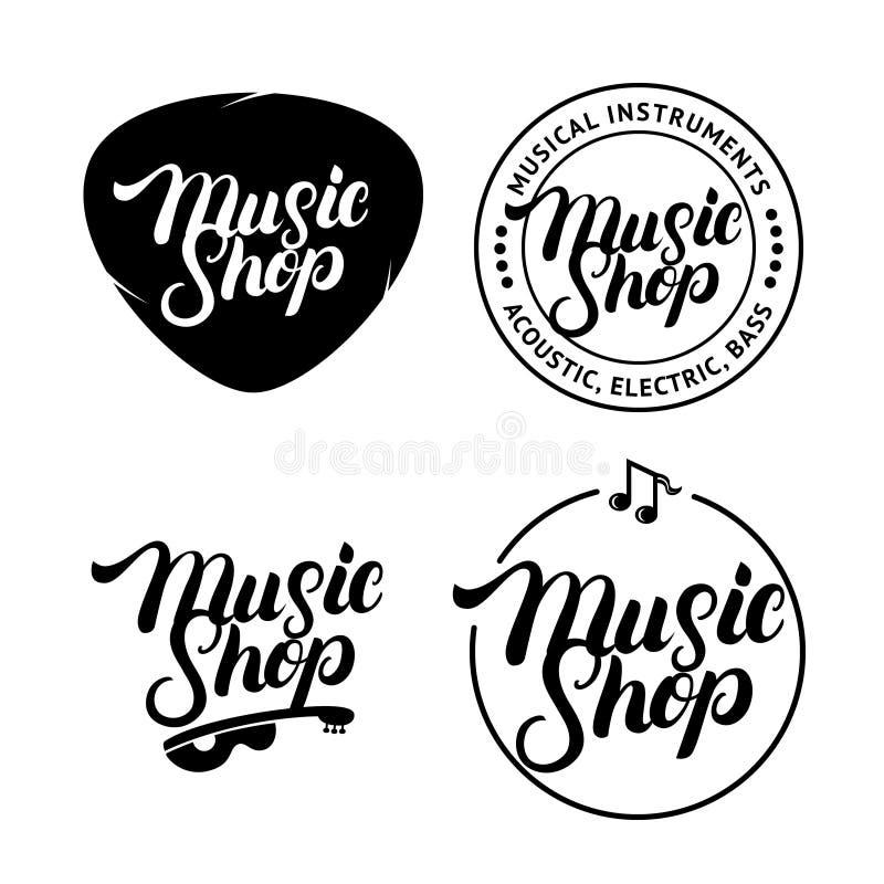 Uppsättningen av musik shoppar skriftliga bokstäverlogoer för handen, etiketter, emblem, emblem royaltyfri illustrationer
