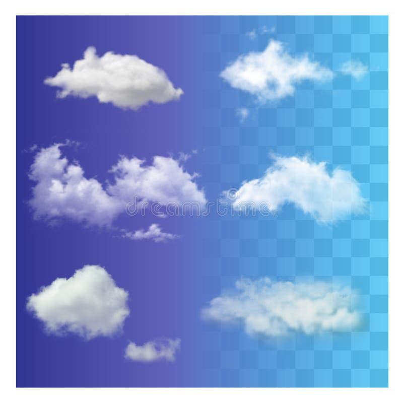 Uppsättningen av mycket realistisk olik genomskinlig vit himmel fördunklar stock illustrationer