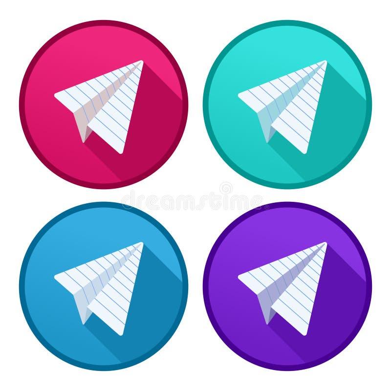Uppsättningen av nivåer vikta ut ur härskade linjära vektorlogoer för pappers- origami med långa skuggor i cirkel bildar royaltyfri illustrationer