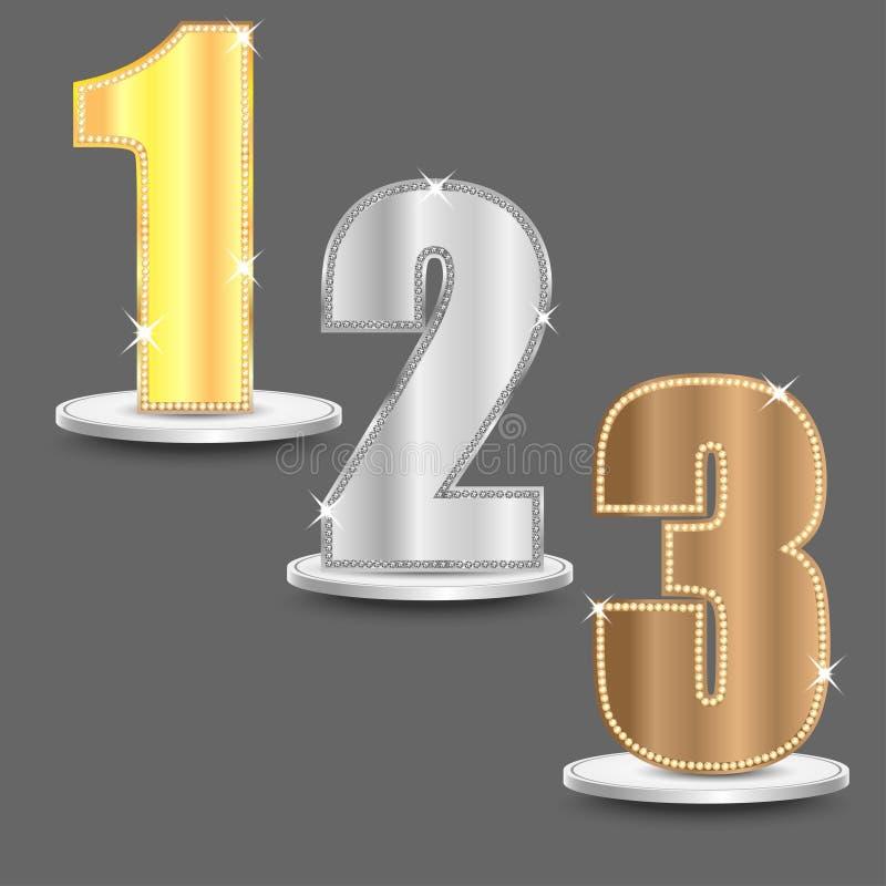 Uppsättningen av nummer av guld- silver och brons färgar stock illustrationer