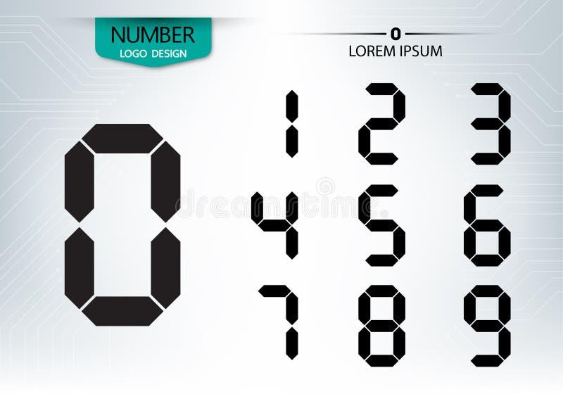 Uppsättningen av nummerteknologi är ett digitalt stock illustrationer