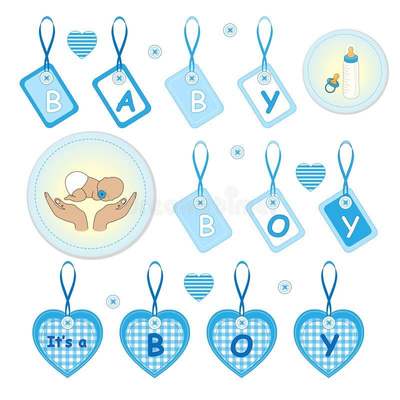 Nyfött behandla som ett barn pojkedesignbeståndsdelar vektor illustrationer
