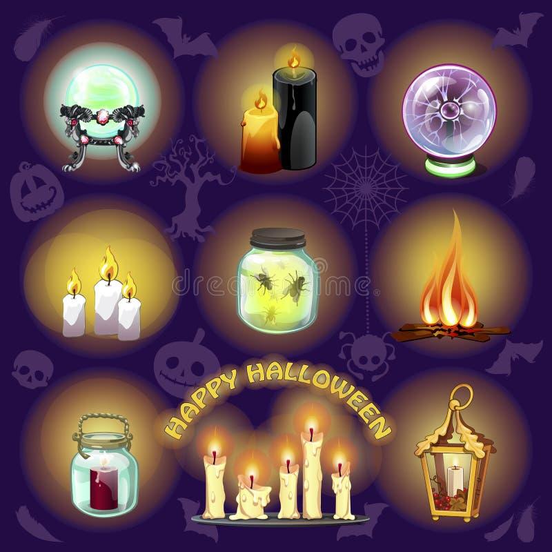 Uppsättningen av objekt för häxeri och spiritistiska seaners på purpurfärgad bakgrund En affisch på temat av ferien royaltyfri illustrationer