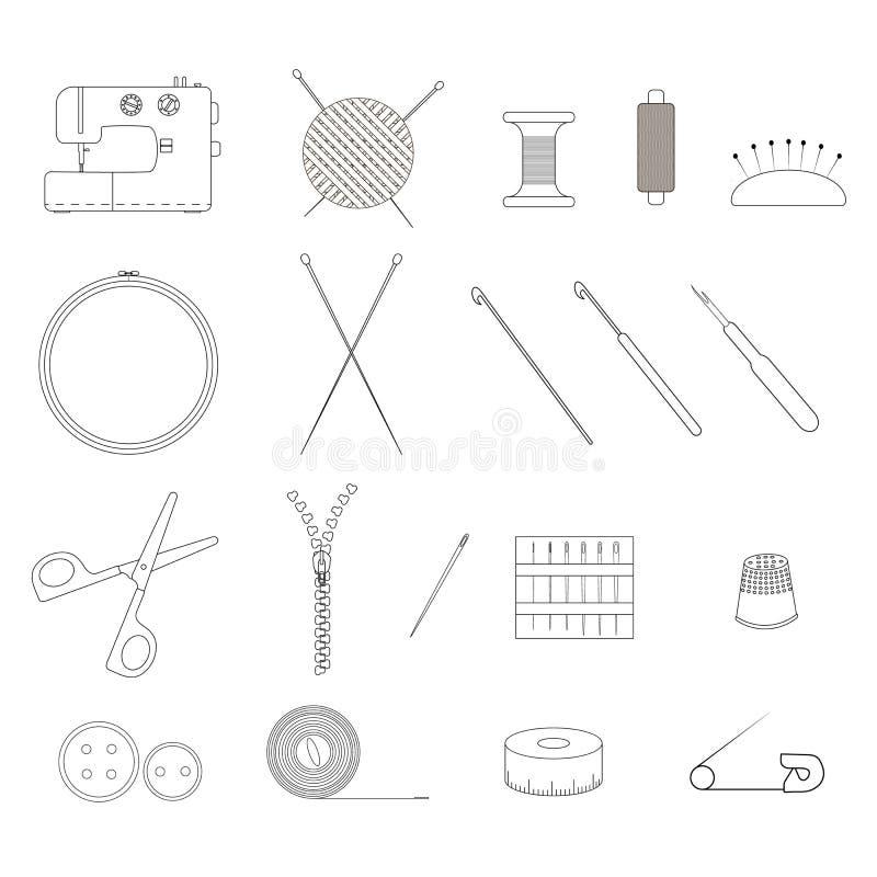 Uppsättningen av objekt för handarbete Den linjära designen stock illustrationer