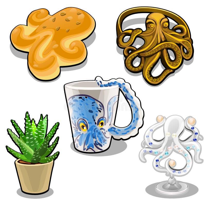 Uppsättningen av objekt i form av en bläckfisk som isoleras på vit bakgrund Themed uppsättning Vektortecknad filmnärbild royaltyfri illustrationer