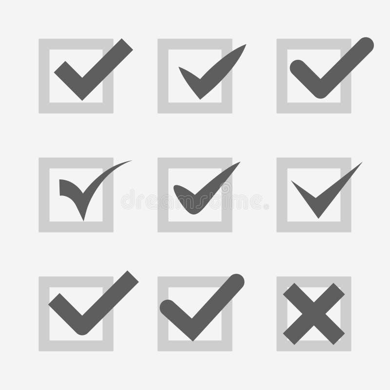 Uppsättningen av oken för kontrollfläcken bekräftar accepterar stämmasymbol vektor illustrationer
