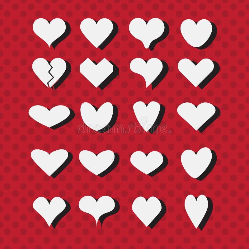 Uppsättningen av olik vit hjärta formar symboler på modern röd prickig bakgrund stock illustrationer