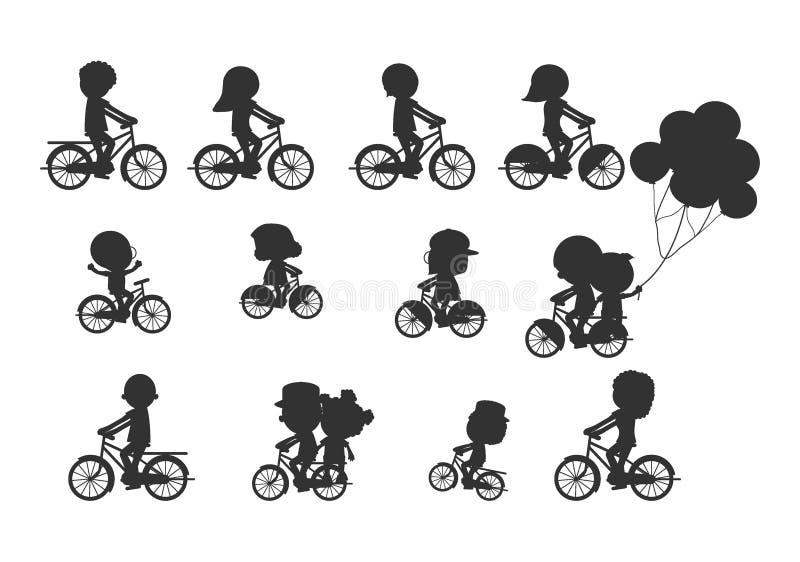 Uppsättningen av olika cyklistkonturer, den lyckliga familjridningen cyklar, familjen som tillsammans cyklar, sportfamiljen famil stock illustrationer