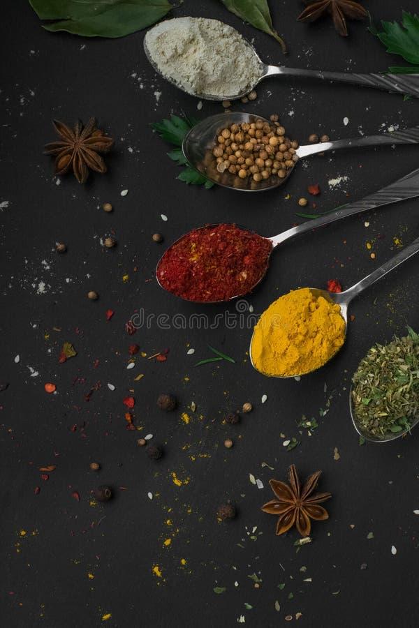 Uppsättningen av olika kryddor och örter på svart kritiserar bakgrund royaltyfria foton