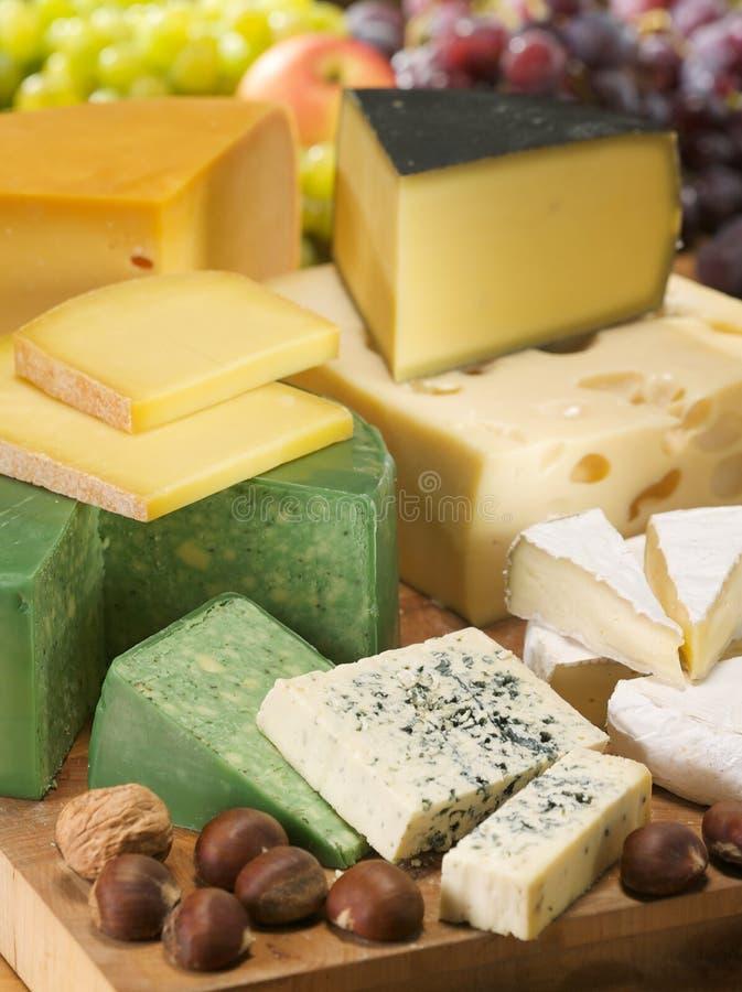 Uppsättningen av olika sorter av ostar. Mejerisamling. arkivbilder